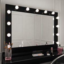Hollywood Mirror Marilyn Black Gloss Illuminated Dressing Table 80x100