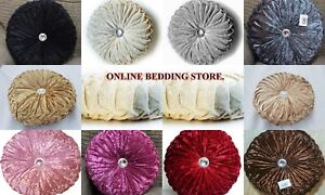 Beautiful Diamond Crush Velvet Round Filled Cushion Touch Elegance to Any Room