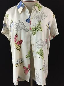 Liz-Claiborne-top-blouse-size-L-large-shorts-sleeve-butterfly-button-down