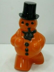 Rosbro-Hard-Plastic-Halloween-Orange-Snowman-Candy-Container-w-Pipe-Vintage