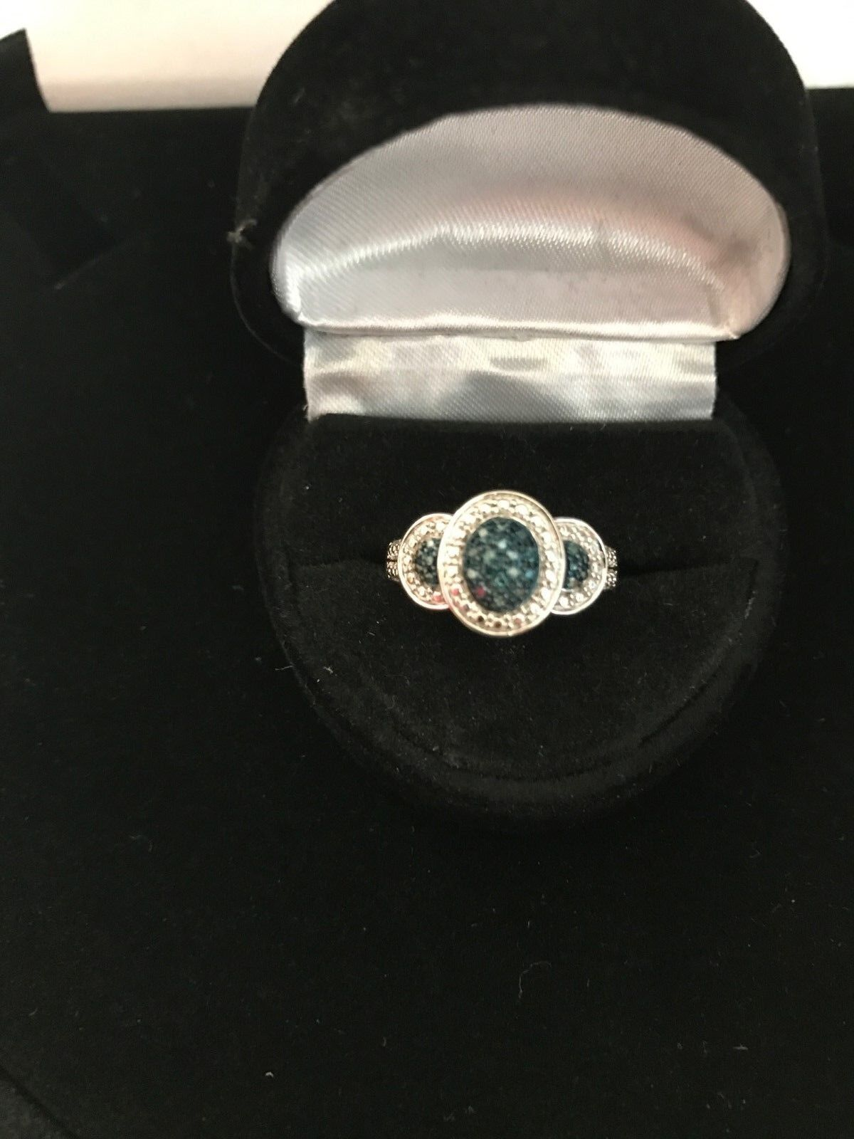 blueE AND WHITE GENUINE DIAMOND WEDDING ANNIVERSARY 3 HALO RING SIZEABLE 7