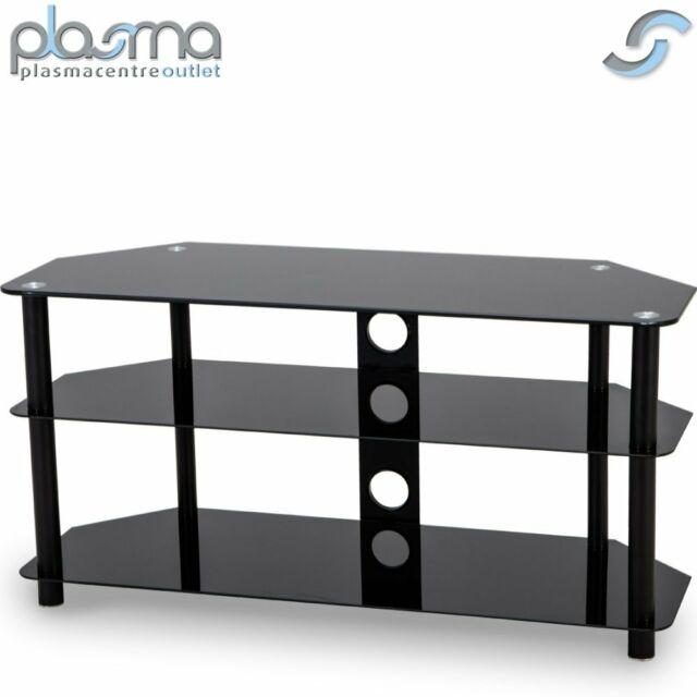 Stealth Mounts 1000mm Black Glass Tv Stand For Tvs Up To 50 Inch Ebay