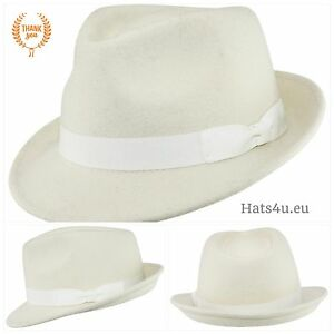 Image is loading Handmade-Crushable-100-Felt-Wool-Trilby-Hat-White- cc25571558b