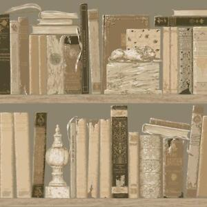 Wallpaper-Old-World-Library-Books-Trompe-l-039-oeil-Bookcase-Shelves-Taupe-Tan-Beige