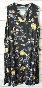 Regatta-Dress-Size-16-Xl-Black-Yellow-Blue-Floral-Sleeveless-Shift-Dress