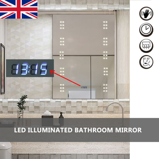 UK Illuminated LED Lighted Backlit Bathroom Mirror Glass Demister Sensor 80*60cm