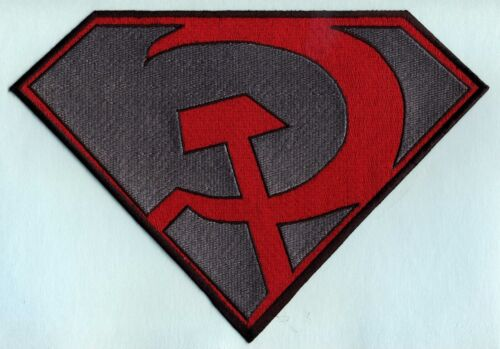 """7/"""" x 10/"""" Large Red /& Gray Fully Embroidered Superman Red Son Chest Logo Patch"""