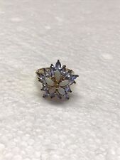 10K Yellow Gold Ring Flower Design with Purple and Opal Stones (Size 7) 3.4 Gram