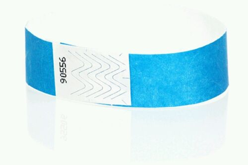 "10,000 34"" NEON BLUE TYVEK WRISTBANDS, NEON BLUE PAPER WRISTBANDS, ARM BANDS"