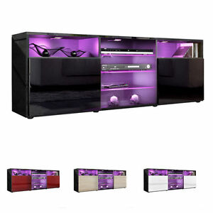 Black-High-Gloss-Modern-TV-Stand-Unit-Media-Entertainment-Center-034-Granada-034