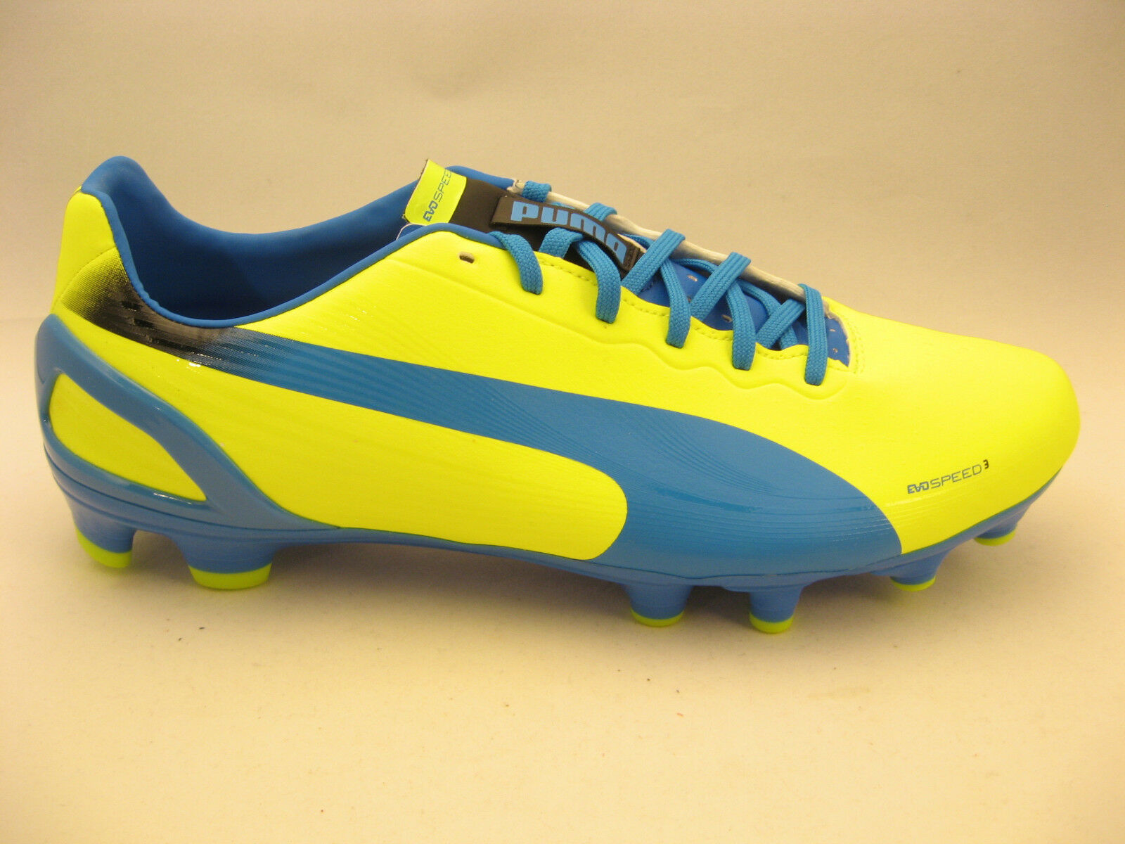 PUMA Mens evoSPEED 3.2 FG Soccer Cleats 10 Yellow Brilliant bluee NEW