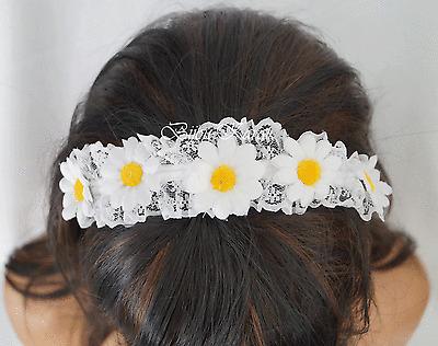 Blumen Haarreif Haarschmuck Blüten Weiß Hochzeit Haarreifen Haargesteck Neu