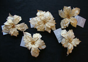 5 x Gold Clip on Poinsettia Christmas Tree Decorations