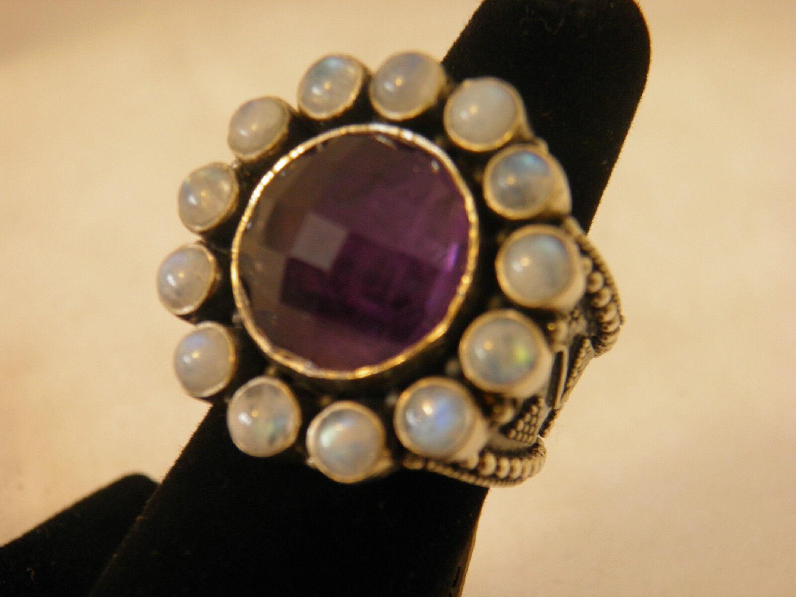 Sandra Singh Sterling 12.00 ct Amethyst Purple Rainbow Moonstone Ring Sz 9 QVC