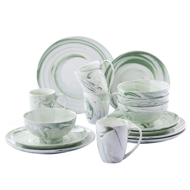 16PC Dinner Set Plates Bowls Mugs Crockery Dinnerware Service for 4 Dining Set