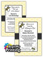 24/36 Bumble Bee Baby Shower / 1st Birthday Invitations+envelopes Custom Printed