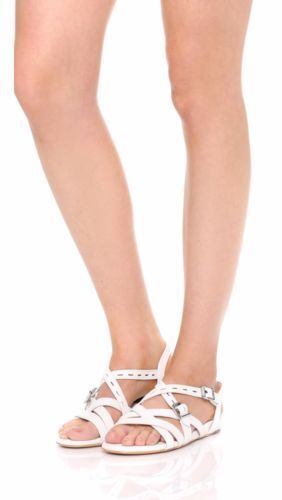 NEU rag & bone Hadi Crackled Pebbled Leder Strappy Sandales WEISS Größe 35 38