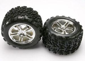 Traxxas-5174-Pneus-Griffe-et-Jantes-Argent-amp-Wheels-Completement-Assemble-pour