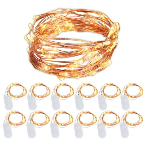 12 Pack Battery Operated String Lights Warm White Copper Wire 6.5 Ft 20 LED