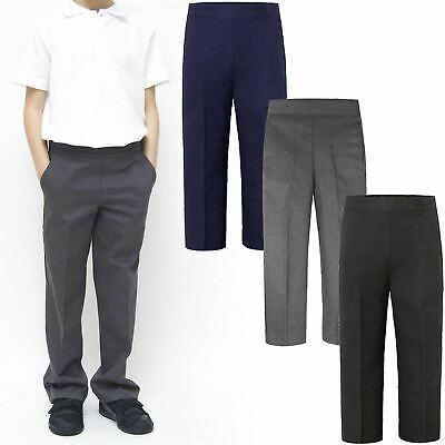 boys school pull on trousers  UNIFORM HALF ELASTICATED TEFLON PANTS