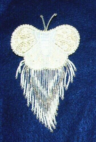 Barrette Beaded Butterfly w Fringe  French clip closure Hair accessory #48
