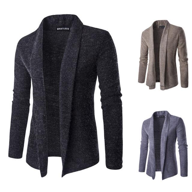 Korean Men's Sweater Slim Fit Casual Long Sleeve Cardigan Knitwear Coat Jacket