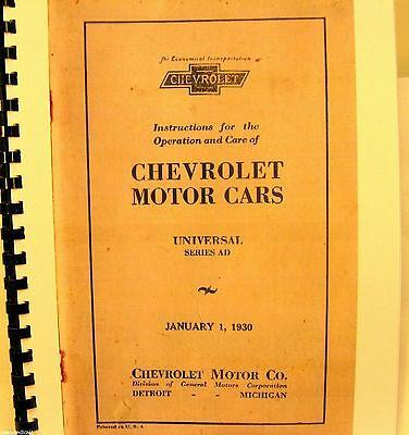 1930 Chevrolet Motore Auto Istruzioni Per The Operation E Cura Universale Piacevole Nel Dopo-Gusto