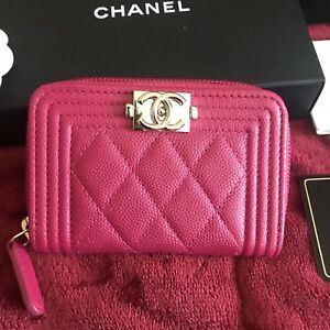 ac25750f0ebb NWT CHANEL FUCHSIA Caviar LE BOY Card Holder Coin Zip O-Case 2017 ...