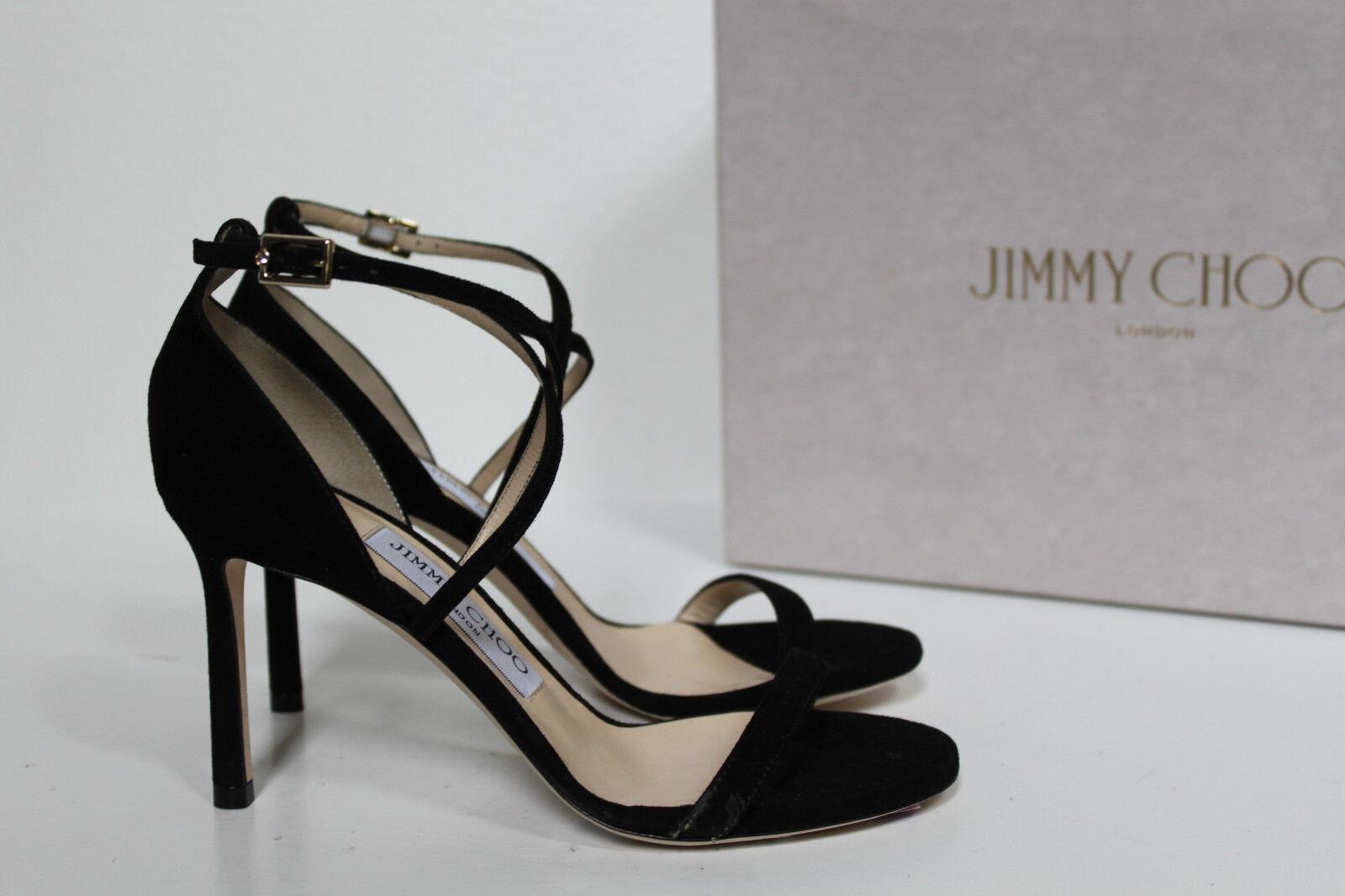 Talla 4.5 4.5 4.5 34.5 Jimmy Choo Hesper Negro Gamuza entrecruzadas de tobillo Abierta Sandalia Zapatos  sin mínimo