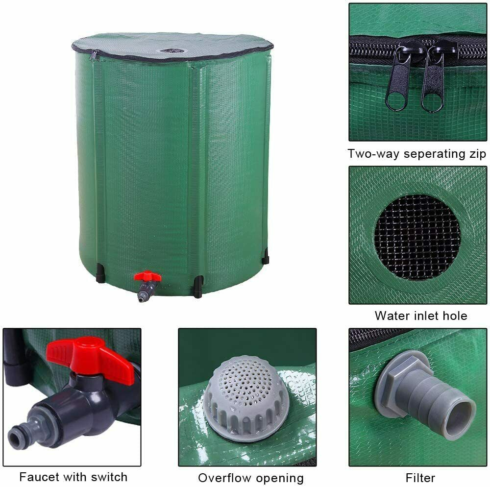 66 Gallon Soleils Portable Rain Barrel Collapsible Tank Water Storage Container