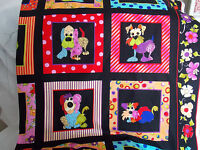Loralie Fabric Dog Happy Panel Colorful 15 Framed Dogs Cotton Sew Quilt Craft