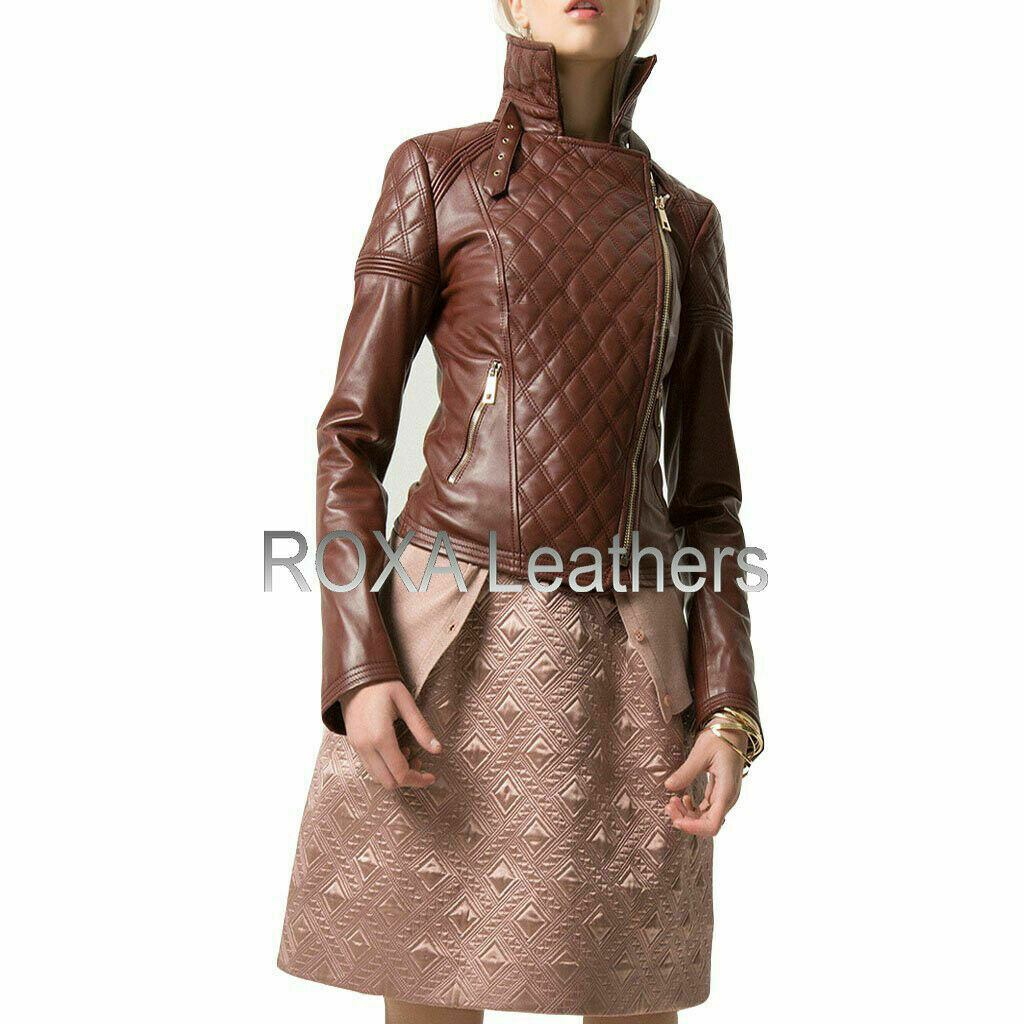 ROXA SEXY Women Authentic Lambskin Pure Leather Jacket Designer Brown Racer RX50