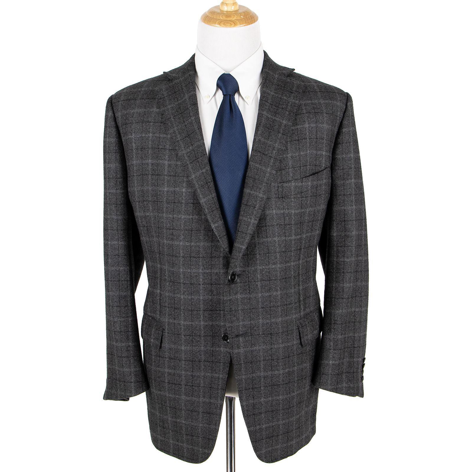 Zegna Su Misura grau Blau Wool Cashmere Plaid Dual Vents 2Btn Jacket 50R