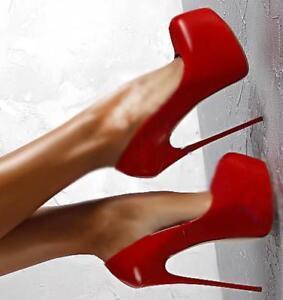 16cm Super High Heels Pumps Womens Platform Round Toe Stilettos Party Club Shoes