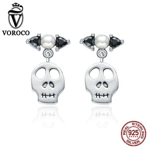 Voroco 925 Argent sterling Boucles d/'oreilles clou avec squelette Dangle Femmes Bijoux Cadeau