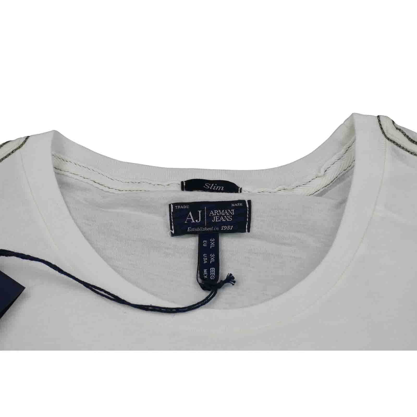 ARMANI Jeans Da Uomo Bianco H/S T-Shirt-taglia & S, XXL & T-Shirt-taglia XXXL nuova con etichetta 100% AUTENTICO 415c25