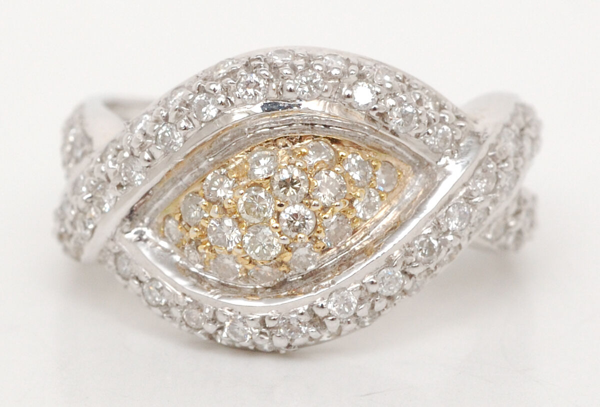 .80ct Pave' Set Diamond  Designer Ring set in 18K Two Tone gold