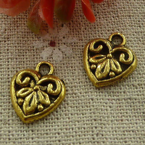 free ship 360 pcs gold plated heart charms 15x13mm #2486