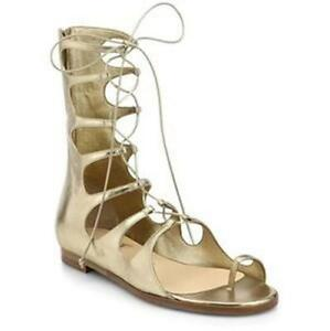dfb160cce19 Details about Christian Louboutin SPARTY Metallic Gold Flat Gladiator Lace  Sandals Shoes $1295