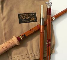 CANNE à PECHE mouche SAUMON SHARPE BAMBOU REFENDU salmon fly fishing rod bamboo