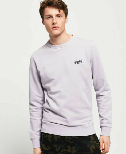 New Mens Superdry Mens Orange Label Pastel Line Crew Sweatshirt Pastel Lilac