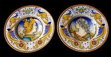 "Finest Deruta Pottery 2 Plates 12""  Dame And Knight-Made Painted by hand Italy"