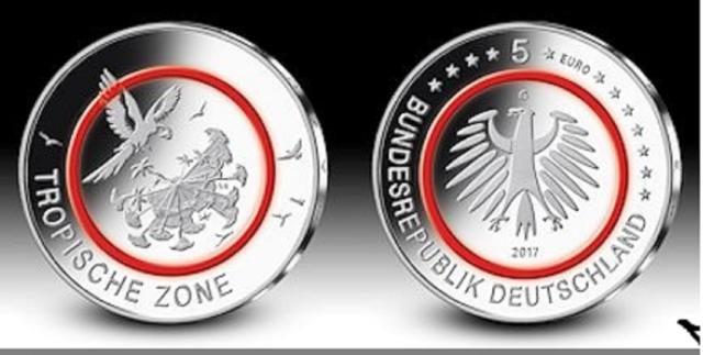 5 Euro Gedenkmünze Tropische Zone Deutschland 2017 - G - in Kapsel u. Tasche