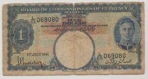 1941-Malaya-amp-Straits-Settlements-1-Dollar-Banknote-King-George-VI-1