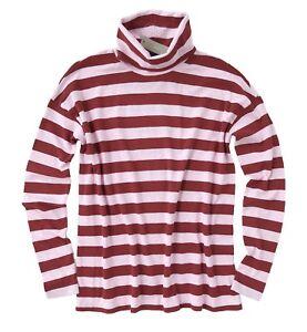 J-Crew-Women-039-s-XS-NWT-Tonal-Pink-Striped-Turtleneck-Sweater-Tee