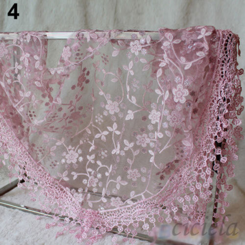 Graceful Women Ladies Floral Lace Knitting Triangle Hollow Out Scarves Shawls