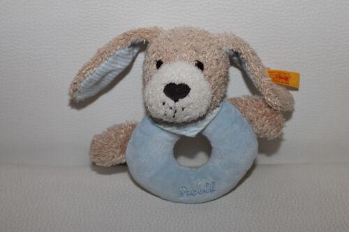 Steiff Gute Nacht Hund blau Rassel Greifling Stofftier Kuscheltier 12cm TOP