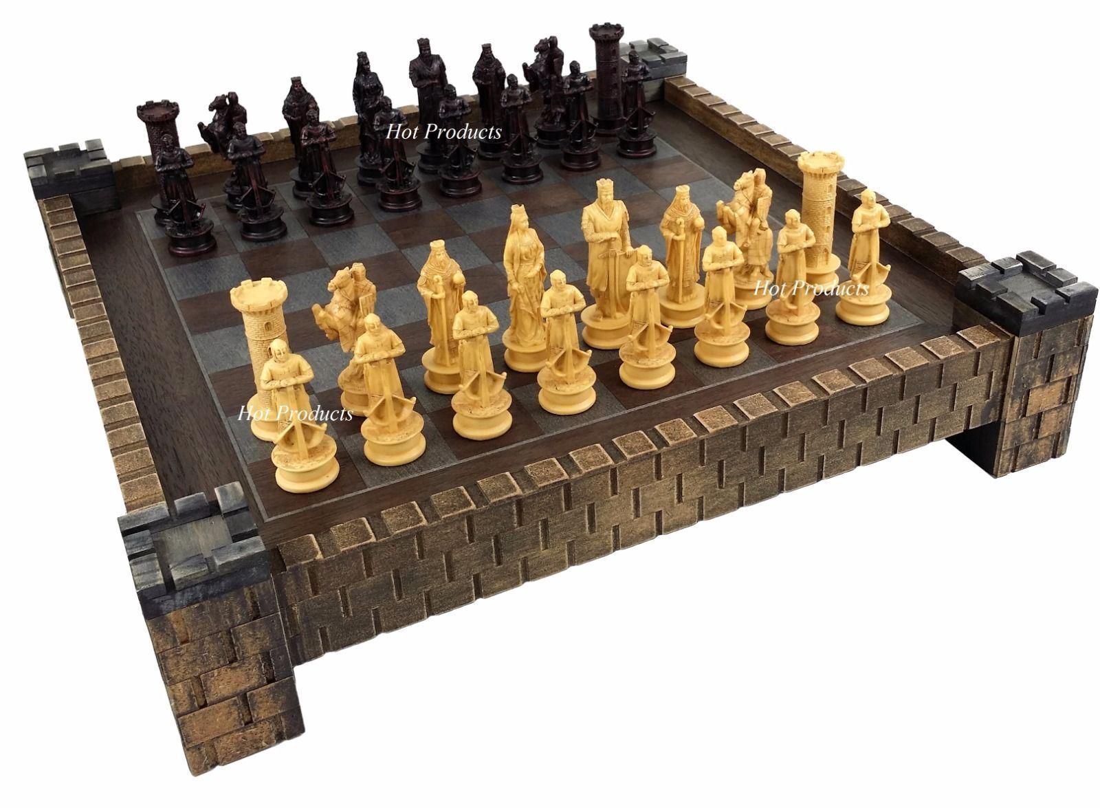 Los tiempos medievales cruzadas el Rey Richard Juego De Ajedrez Antiguo Color Con Castillo Board