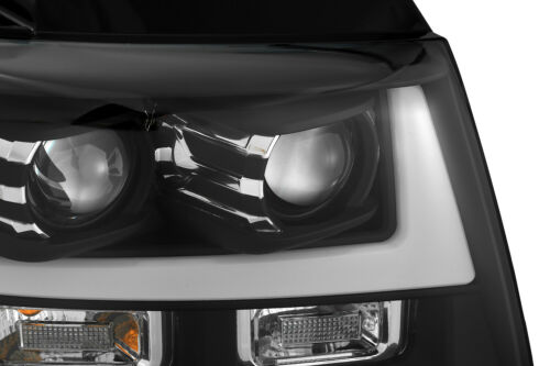 For 2007-2014 Suburban//Tahoe//Avalanche LED Tube Black Dual Projector Headlights