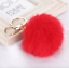 Keyring Soft Faux Fluffy Rabbit Fur Handbag Pendant Charm PomPom Gold Keychain